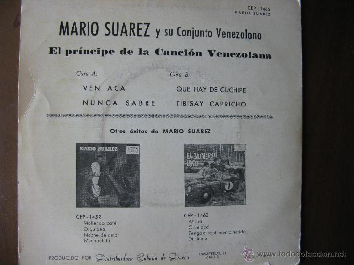 Discos de vinilo: MARIO SUAREZ Y SU CONJUNTO VENEZOLANO. EP. CUBALEGRE. CEP-1465. FABRICADO EN ESPAÑA. 1962. - Foto 2 - 49985249