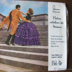 Discos de vinilo: VALSES CÉLEBRES DE STRAUSS. FRANZ WEBER Y SU ORQUESTA VIENESA. 1961. BEL-AIR IBEROFÓN IB-45-5037. Lote 49985588