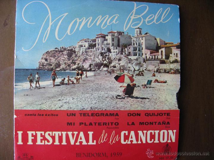MONNA BELL. I FESTIVAL DE LA CANCIÓN DE BENIDORM 1959. ORQUESTA GREG SEGURA Y AUGUSTO ALGUERO. (Música - Discos de Vinilo - EPs - Solistas Españoles de los 50 y 60)