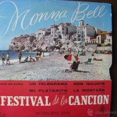 Discos de vinilo: MONNA BELL. I FESTIVAL DE LA CANCIÓN DE BENIDORM 1959. ORQUESTA GREG SEGURA Y AUGUSTO ALGUERO.. Lote 49990008