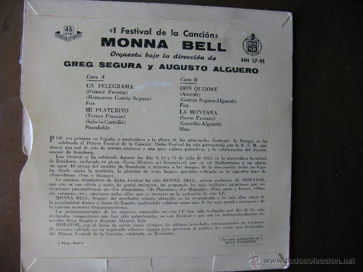 Discos de vinilo: MONNA BELL. I FESTIVAL DE LA CANCIÓN DE BENIDORM 1959. ORQUESTA GREG SEGURA Y AUGUSTO ALGUERO. - Foto 2 - 49990008