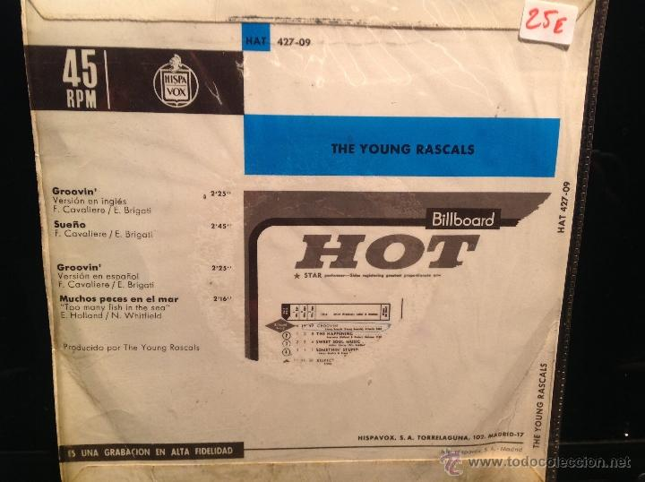 Discos de vinilo: THE YOUNG RASCALS Ep Groovin´+ 3 temas - Foto 2 - 50003622