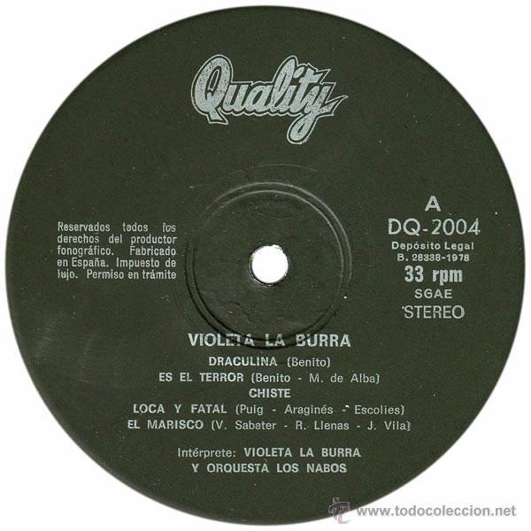 Discos de vinilo: Violeta La Burra Y Orquesta Los Nabos - LP Spain 1978 - Quality DQ 2004 - Foto 3 - 50058715