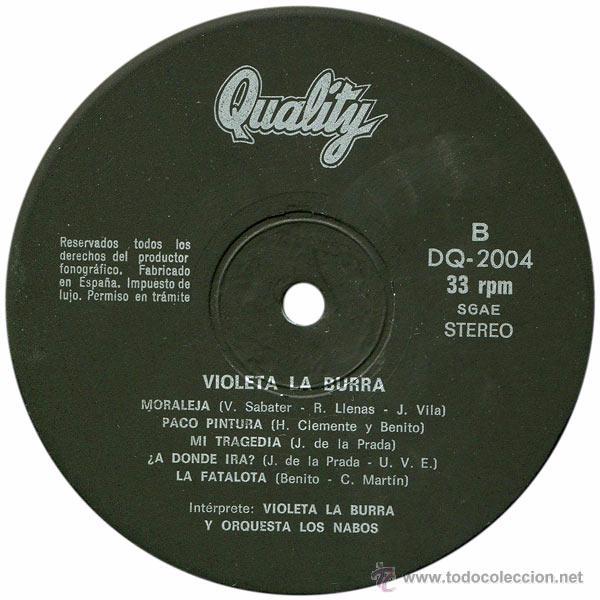 Discos de vinilo: Violeta La Burra Y Orquesta Los Nabos - LP Spain 1978 - Quality DQ 2004 - Foto 4 - 50058715