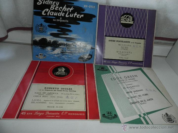 Discos de vinilo: LOTE DE 4 SINGLES , AÑOS 50 , EDDY GREEN,ANDRE KOSTELANETZ , SIDNEY BECCHET , ROBERTO INGLEZ - Foto 3 - 50068377