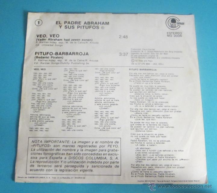 Discos de vinilo: EL PADRE ABRAHAM Y SUS PITUFOS. VEO, VEO. PITUFO - BARBARROJA - Foto 2 - 50071914