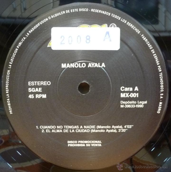 Discos de vinilo: MANOLO AYALA (MAXISINGLE PROMOCIONAL GRAN SOL DISCOS 1990 SPAIN) - Foto 3 - 50075503