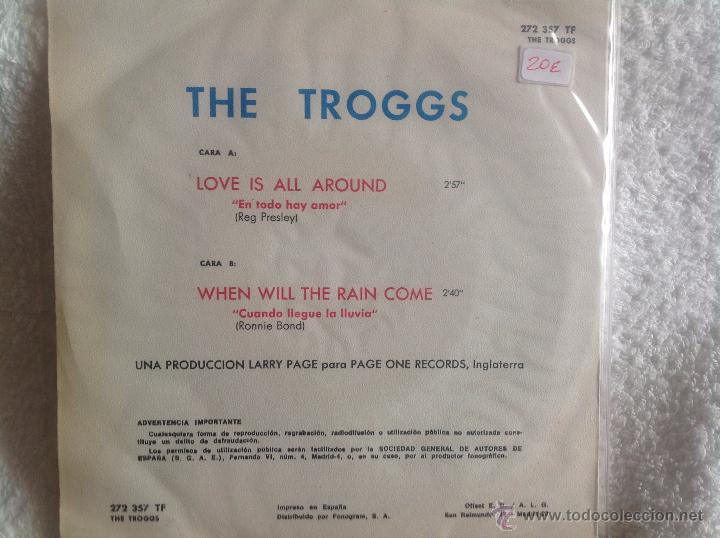 Discos de vinilo: THE TROGGS sg. Love is all around + when will the rain come - Foto 2 - 50075763