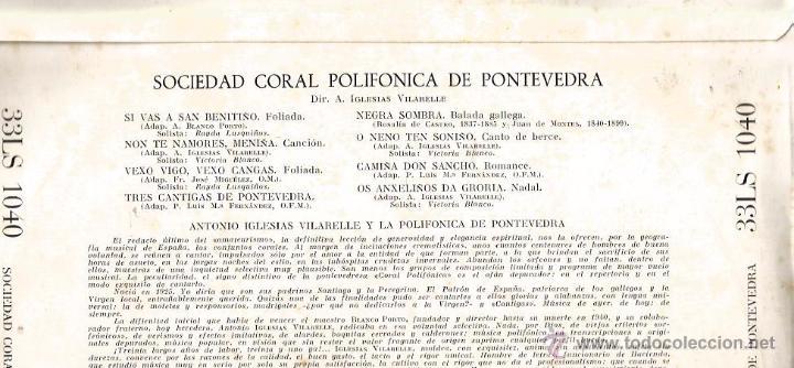Discos de vinilo: LP 10 PULGADAS - GALICIA FOLK : SOCIEDAD CORAL POLIFONICA DE PONTEVEDRA : CANCIONES GALLEGAS - Foto 2 - 50086899