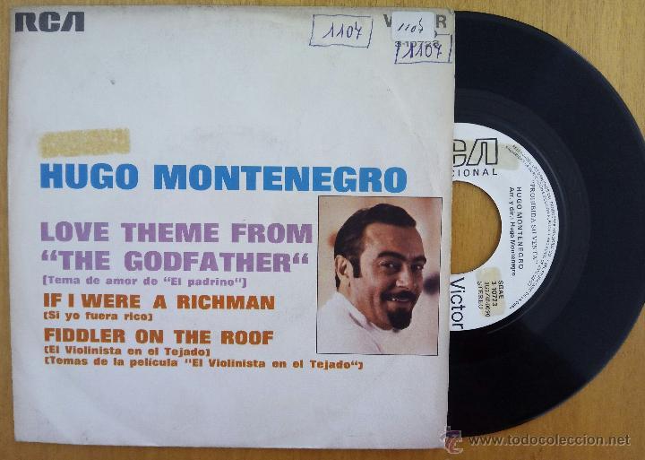 HUGO MONTENEGRO, THE GODFATHER + FIDDLER ON THE ROOF (RCA 1972) SINGLE PROMOCIONAL ESPAÑA (Música - Discos - Singles Vinilo - Pop - Rock - Extranjero de los 70)