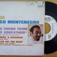 Dischi in vinile: HUGO MONTENEGRO, THE GODFATHER + FIDDLER ON THE ROOF (RCA 1972) SINGLE PROMOCIONAL ESPAÑA. Lote 50106291