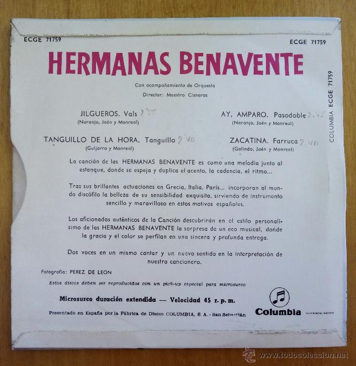 Discos de vinilo: HERMANAS BENAVENTE, JILGUEROS +3 (COLUMBIA 1962) SINGLE EP TANGUILLO AMPARO ZACATINA - Foto 2 - 50106640