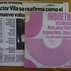 Discos de vinilo: HECTOR VILA, INQUIETUDS (PICAP 1986) SINGLE PROMOCIONAL 1 SOLA CARA. Lote 50106937