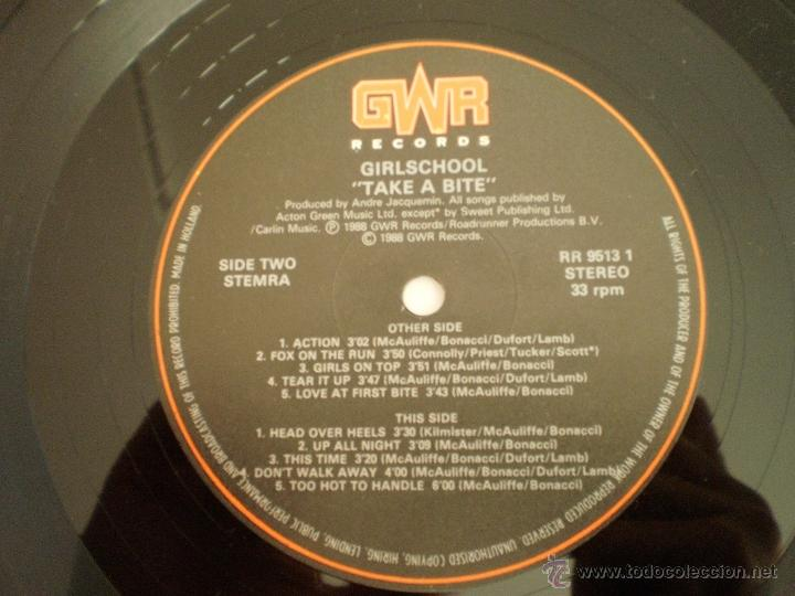 Discos de vinilo: LP. GIRLSCHOOL. TAKE A BITE. ORIGINAL 1988. MUY BUENA CONSERVACION - Foto 3 - 50132640