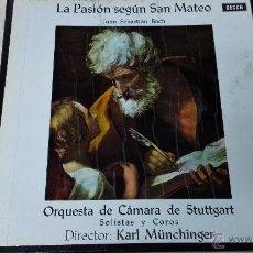 Discos de vinilo: PASIÓN SEGÚN SAN MATEO, BACH.SELLO DECCA. DR. KARL MÜNCHINGER.. Lote 50145219