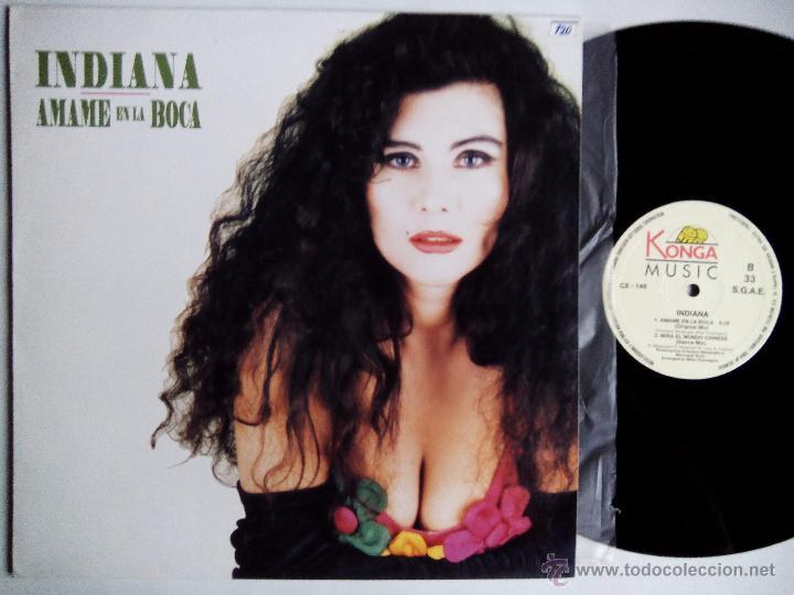 INDIANA. ÁMAME EN LA BOCA. MAXI KONGA MUSIC CX-146. ESPAÑA 1992 MIRA EL MUNDO CHINESE DANCE ITALIA. (Música - Discos de Vinilo - Maxi Singles - Canción Francesa e Italiana)