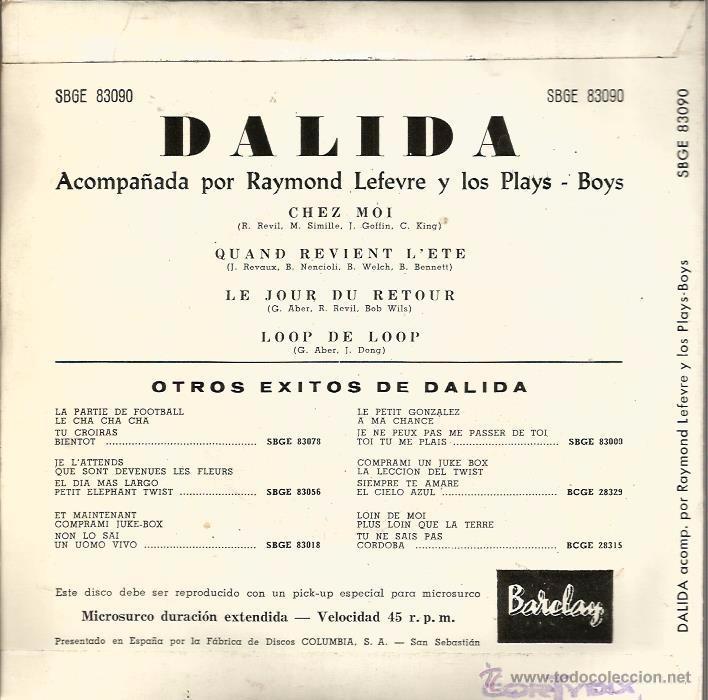 Discos de vinilo: EP DALIDA : CHEZ MOI + 3 - Foto 2 - 50175054