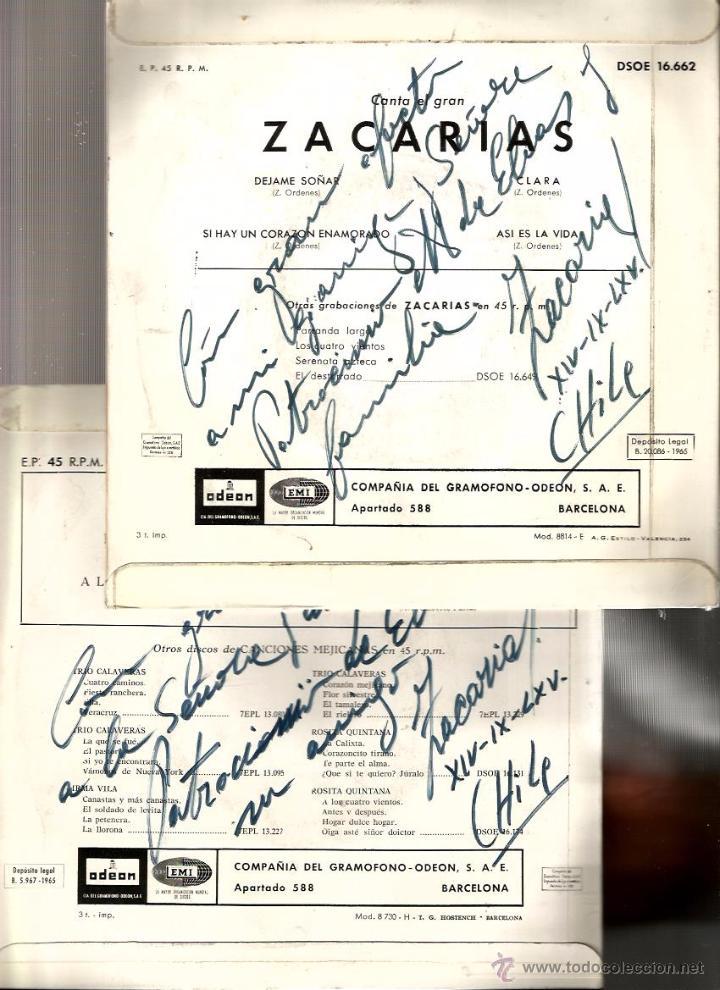 Discos de vinilo: 2 EP´S CANTA EL GRAN ZACARIAS : PARRANDA LARGA + DEJAME SOÑAR ( FIRMADOS POR EL ARTISTA ) - Foto 2 - 50176018