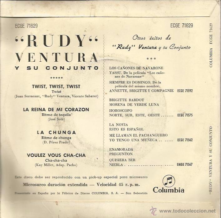Discos de vinilo: EP RUDY VENTURA Y SU CONJUNTO : TWIST , TWIST, TWIST + 3 (EDITADO EN 1961 ) - Foto 2 - 50176162