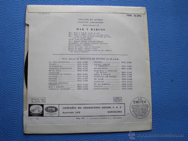 Discos de vinilo: VARIOS-EFECTOS DE SONIDO MAR Y BARCOS EP SPAIN 1959 PDELUXE - Foto 2 - 50189056