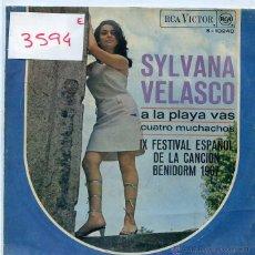 Discos de vinilo: SYLVANA VELASCO / A LA PLAYA VAS (IX FESTIVAL DE BENIDORM) / CUATRO MUCHACHOS (SINGLE 1976). Lote 50239746