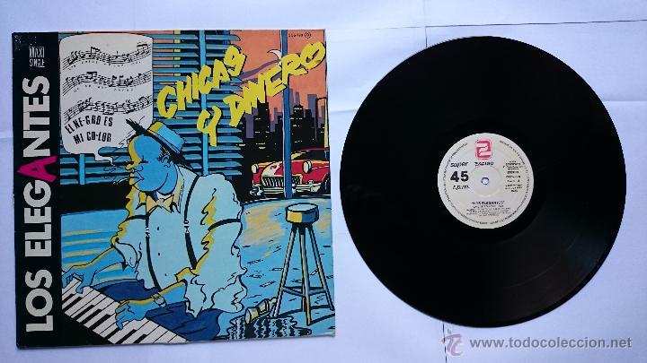 LOS ELEGANTES - CHICAS Y DINERO / DISPARARE (MAXI 1985) (Música - Discos de Vinilo - Maxi Singles - Grupos Españoles de los 70 y 80)