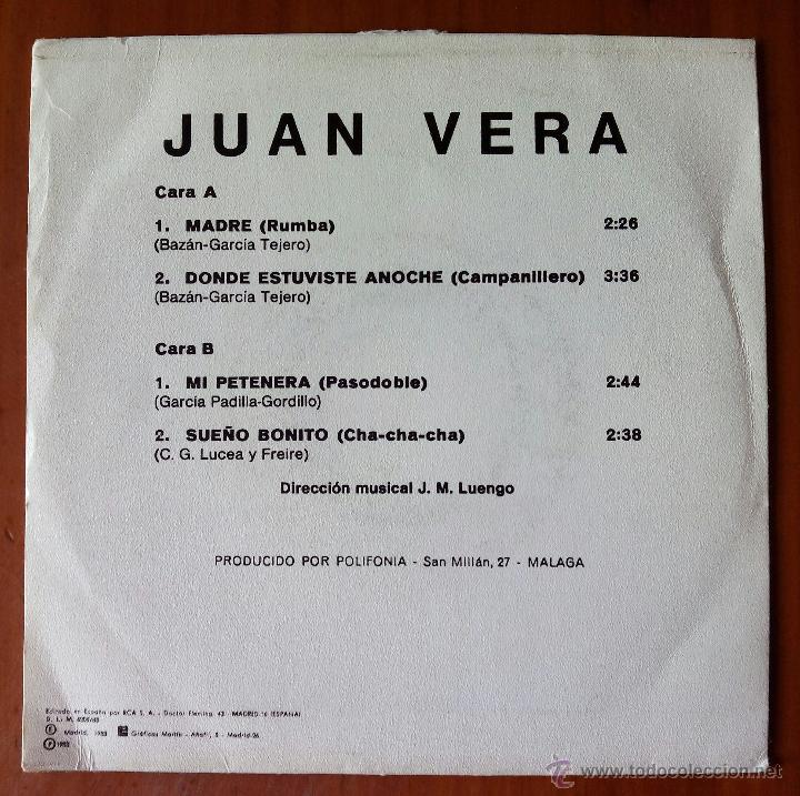 Discos de vinilo: JUAN VERA, MADRE +3 (POLIFONIA 1983) SINGLE EP - RUMBA - Foto 2 - 50273064