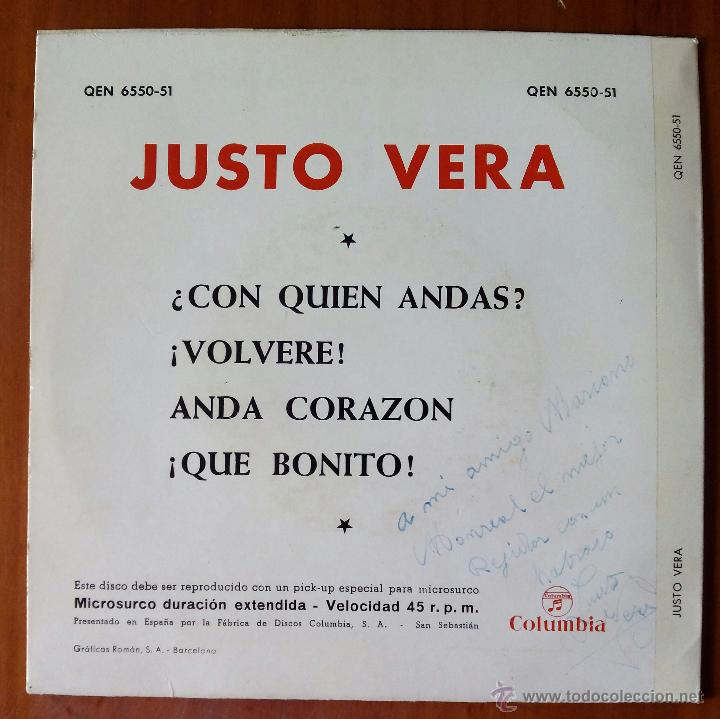 Discos de vinilo: JUSTO VERA, CON QUIEN ANDAS +3 (COLUMBIA 1964) SINGLE EP - TRICENTRE - VOLVERE, ANDA CORAZON - Foto 2 - 50273792