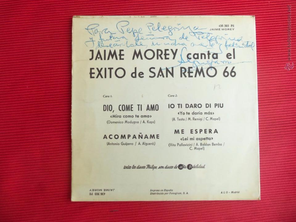 Discos de vinilo: SAN REMO 66 - JAIME MOREY - DIO, COME TI AMO ( MIRA COMO TE AMO ) - Foto 2 - 50299289