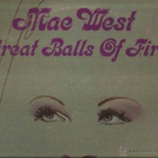 Discos de vinilo: LP-MAE WEST GREAT BALLS OF FIRE MGM 4869 USA 1972 BIZARRO JERRY LEE LEWIS THE DOORS COVERS. Lote 50321305