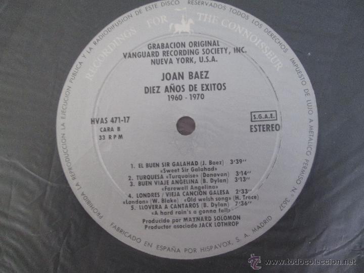 Discos de vinilo: JOAN BAEZ ( 1960/70). DIEZ AÑOS DE EXITO. DOS DISCOS. HISPA VOX. - Foto 7 - 50328233