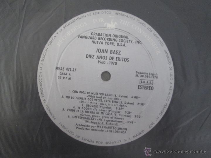 Discos de vinilo: JOAN BAEZ ( 1960/70). DIEZ AÑOS DE EXITO. DOS DISCOS. HISPA VOX. - Foto 8 - 50328233