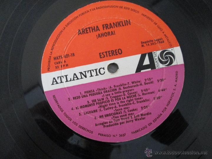 Discos de vinilo: ARETHA FRANKLIN. !AHORA! HISPAVOX, S.A. ATLANTIC HAT 421-18 - Foto 5 - 50328460