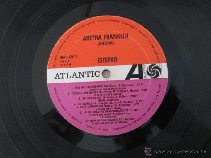 Discos de vinilo: ARETHA FRANKLIN. !AHORA! HISPAVOX, S.A. ATLANTIC HAT 421-18 - Foto 6 - 50328460