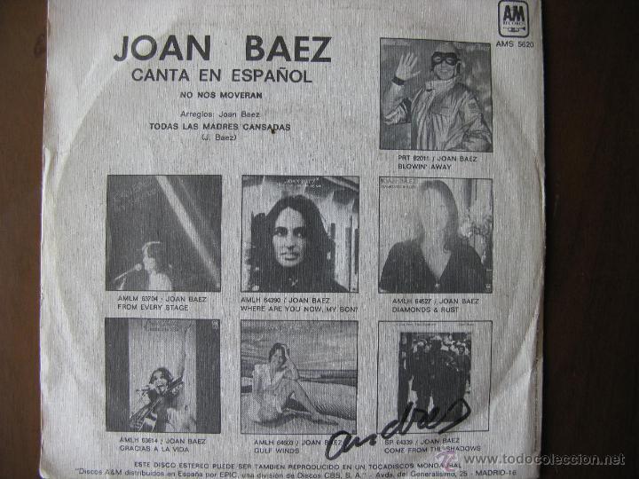 Discos de vinilo: JOAN BAEZ. CANTA EN ESPAÑOL NO NOS MOVERAN. 7inch. MADE IN SPAIN. A&M AMS 5620. 1977 - Foto 2 - 50331402