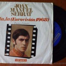 Discos de vinilo: JOAN MANUEL SERRAT, LA LA LA + POEMA D'AMORE (VERGARA 1968) SINGLE - CANTA EN ITALIANO. Lote 50350217