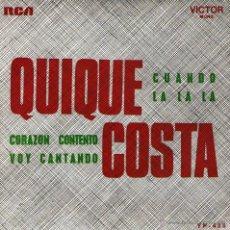 Discos de vinilo: QUIQUE COSTA - EP 7'' - EDITADO EN PORTUGAL - LA LA LA (EUROVISON 1968) + 3 - RCA 1968. Lote 50367090