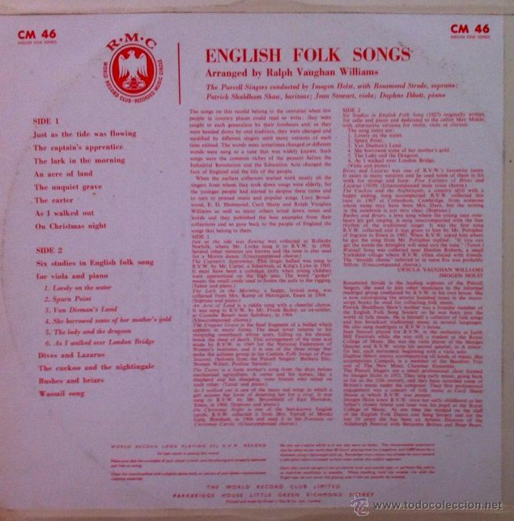 Discos de vinilo: ENGLISH FOLK SONGS - THE PURCELL SINGERS (Excelente estado) - Foto 3 - 50371716
