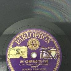 Discos de vinilo: DISCO DE PIZARRA IMPERIO ARGENTINA - ZAMBITA MIA / UN COMPADRITO FUÉ ED. PARLOPHON.. Lote 50373323