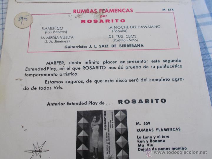 Discos de vinilo: ROSARITO RUMBAS FLAMENCAS. - Foto 2 - 50375160