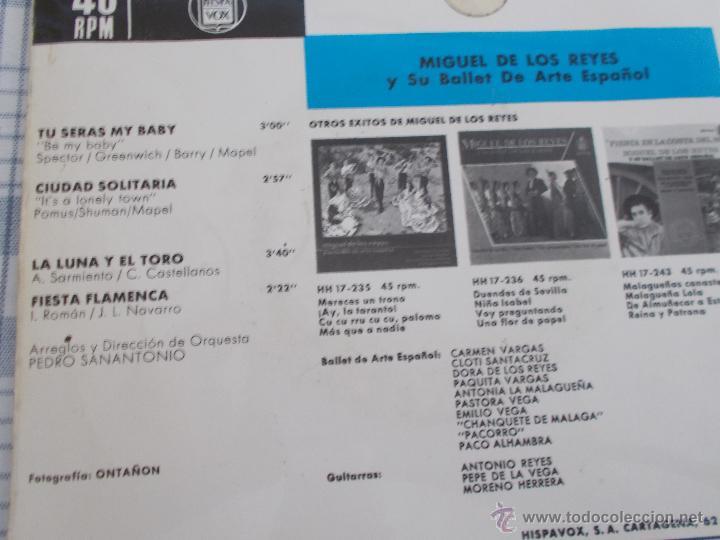 Discos de vinilo: MIGUEL DE LOS REYES Y SU BALLET DE ARTE ESPAÑOL. TU SERÁS MI BABY CIUDAD SOLITARIA. LA LUNA Y EL TOR - Foto 2 - 50375388