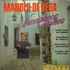 Discos de vinilo: MANOLO DE VEGA EP BELTER 1968 NADIE COMO MI CARMEN/ FANDANGOS DE MANOLO +2 RUMBAS RUMBA GITANA. Lote 50404360