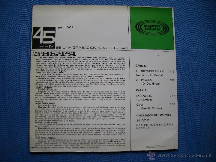 Discos de vinilo: LOS BETA INCENDIO EN RIO EP SPAIN 1967 PDELUXE - Foto 2 - 50411768