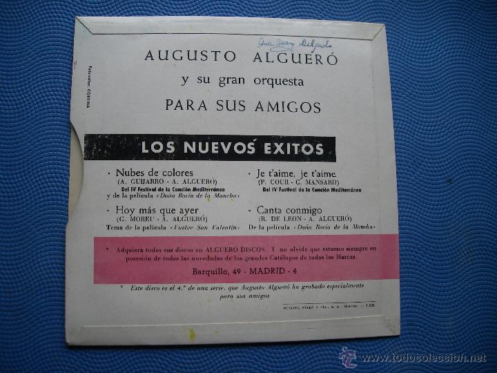 Discos de vinilo: AUGUSTO ALGUERO NUBES DE COLORES + 3 EP SPAIN 1967 PDELUXE - Foto 2 - 50411985