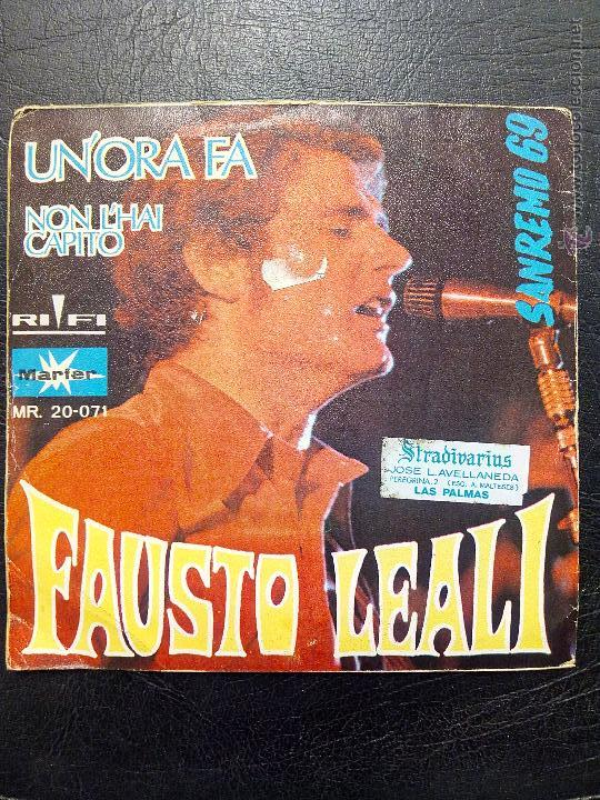 Discos de vinilo: SINGLE FAUSTO LEALI - UN'ORA FA - XIX FESTIVAL DE SAN REMO 1969 - MARFER. - Foto 2 - 50446839