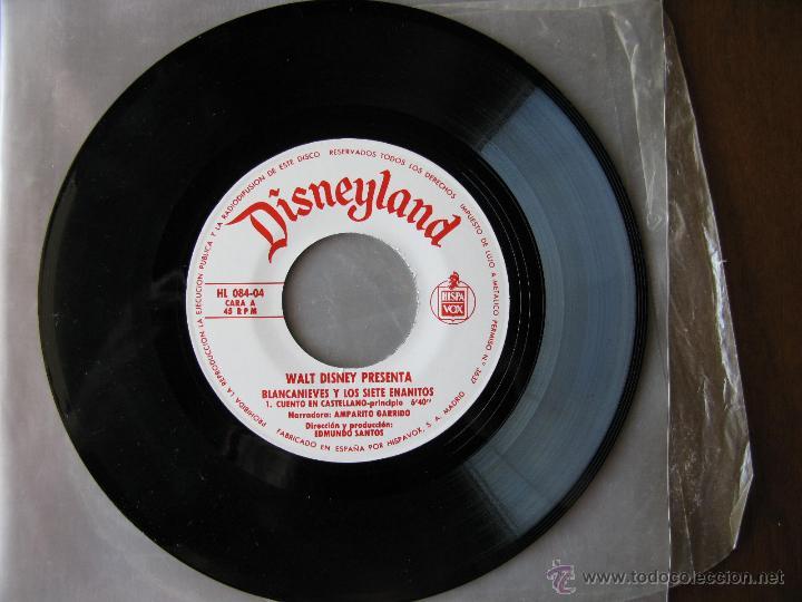 DISNEYLAND. BLANCANIEVES Y LOS SIETE ENANITOS. 7 INCH. HISPAVOX 1967. HL 084-04 (Música - Discos - Singles Vinilo - Música Infantil)