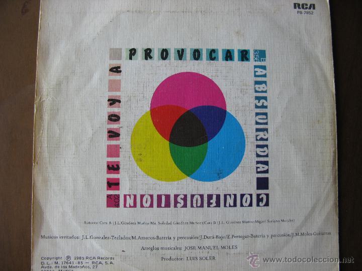 Discos de vinilo: PRESUNTOS IMPLICADOS. TE VOY A PROVOCAR. 7INCH. 1985 RCA PB-7852. MADE IN SPAIN. - Foto 2 - 50451002
