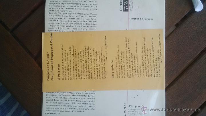 Discos de vinilo: GRUP CORAL DE L´AGRUPACIÓ CATALANA D´ITALIA - CANÇONS DE L´ALGUER CON TEXTOS PERFECTO ESTADO - Foto 2 - 50484631