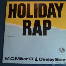Discos de vinilo: PEDIDO MINIMO 3 DISCOS MAXISINGLE - M.C. MIKER 'G' & DEEJAY SVEN - HOLIDAY RAP - 3 VERSIONES. Lote 50518922