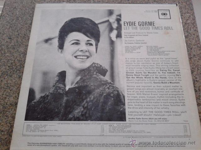 Discos de vinilo: EYDIE GORME -- LET THE GOOD TIMES ROLL -- LP -- COLUMBIA RECORDS - 1963 -- MADE IN USA -- - Foto 2 - 50525980